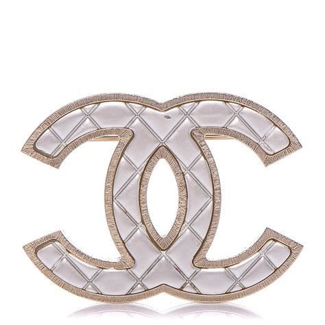 Metal Brooch chanel metal quilted cc brooch silver gold 184193