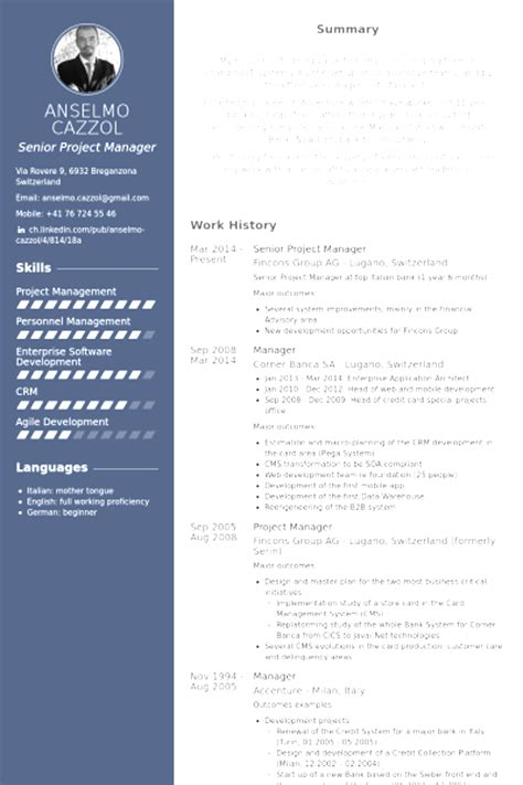 project manager resume templates free project manager cv templates for free image collections