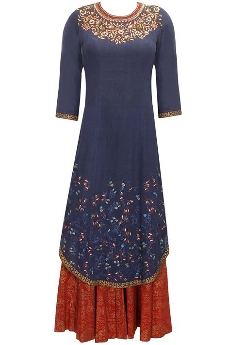 Dress Modis Nikky Style anju modi navy blue zari and sequins floral embroidered kurta set available only at pernia s pop