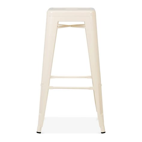 75 off bamboo and metal bar stools chairs cream powder coated 75cm tolix style industrial stool
