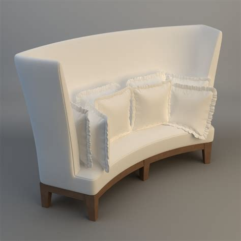 High Back Settee Keoki 3d High Back Settee With Arms | curved high back sofa 3d model