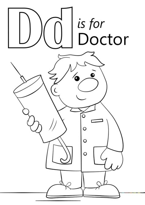 learning alphabet coloring pages letter d 008 letter d is for doctor coloring page education