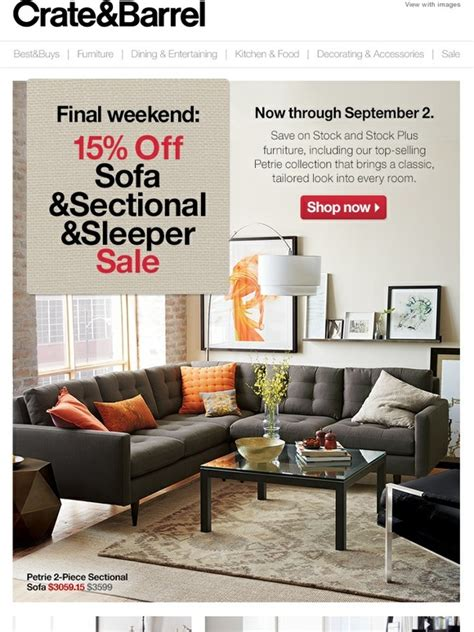 crate and barrel upholstery sale 2013 crate and barrel final week the 15 off sofa sale milled