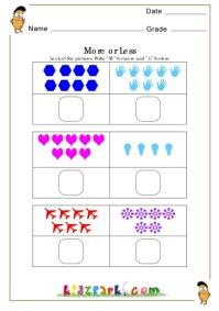 more or less worksheets activity sheets for kids