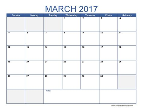 blank march 2017 calendar weekly calendar template