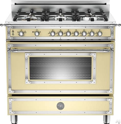 "Bertazzoni HER366GAS 36"" Traditional Style Gas Range with 6 Sealed Brass Burners, 4.4 cu. ft"