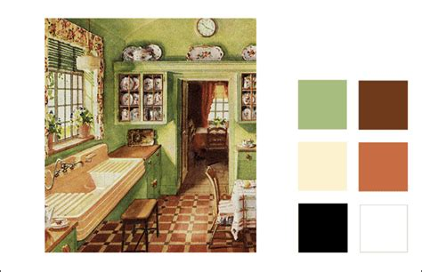 1929 kitchen color scheme orange green ivory vintage color antique home style
