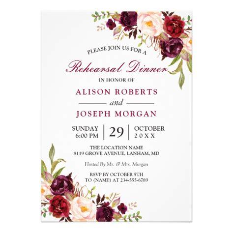 Unique Floral Wedding Invitations by Burgundy Floral Wedding Rehearsal Dinner Card