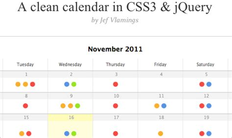 css calendar tutorial 99 powerful new css and javascript techniques smashing