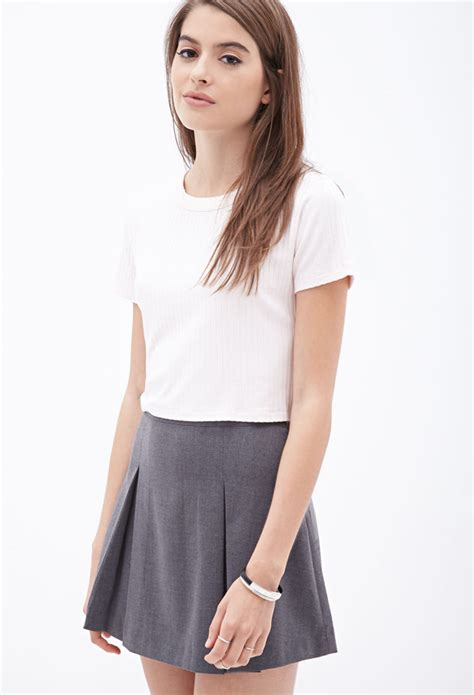 knit crop top lyst forever 21 ribbed knit crop top in white