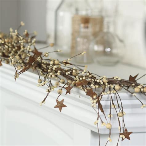 rusty star and pip berry garland on sale primitive decor