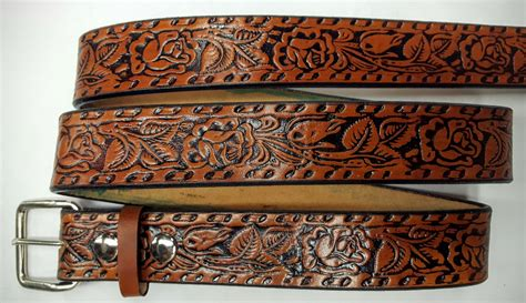 Handmade Belts Usa - leather embossed belt roses leather belts usa