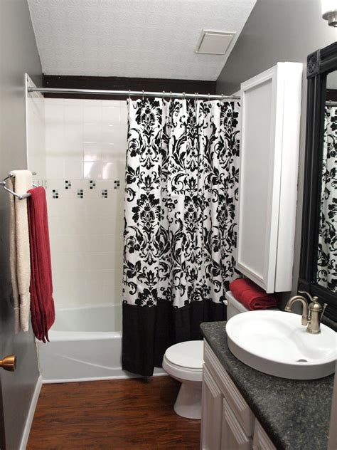 black white and red bathroom decor colorful bathrooms from hgtv fans bathroom ideas