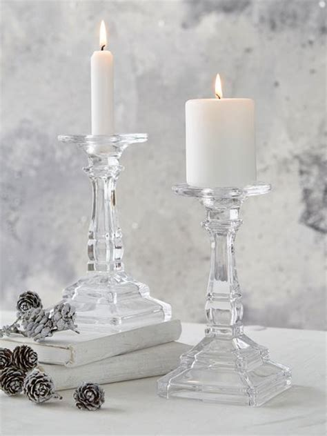 Glass Candle Stick Holders Glass Pillar And Dinner Candle Holder