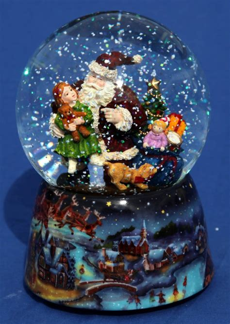 musical snow globe santa with young child ebay