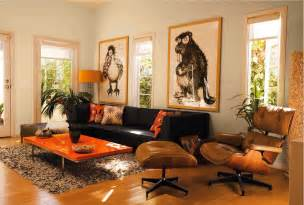 Living Room Decor With Orange And Brown Room Decorating Decorations Ideas For Living Room