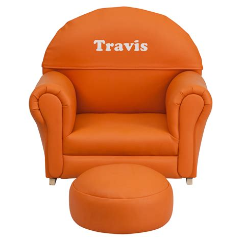 personalized kid chair ottoman personalized orange vinyl rocker chair and footrest