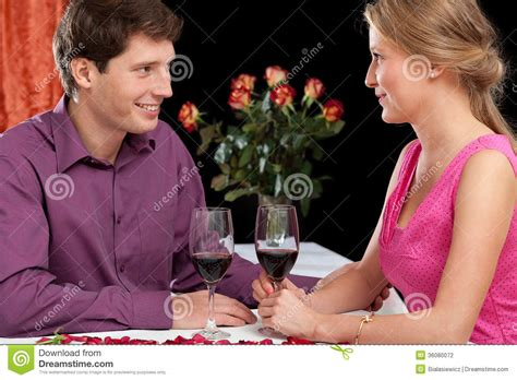 romantic couple drinking wine romantic dinner with wine stock photography image 36080072
