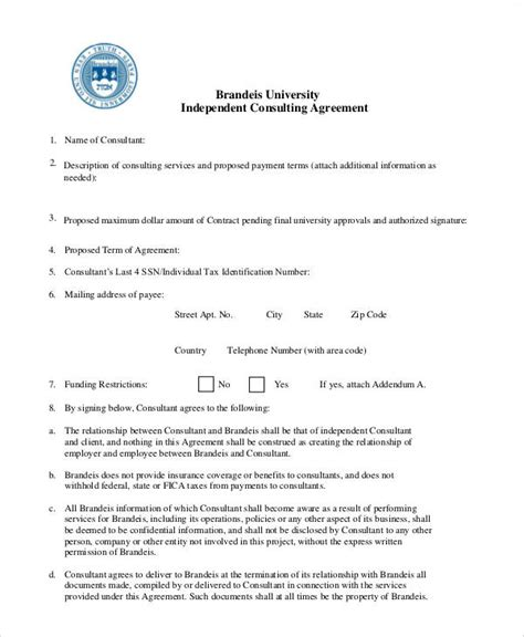independent consulting agreement 6 consulting agreement contract sles sle templates