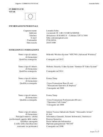 Formato Europeo Curriculum Vitae Fac Simile allegato 226 c 226 fac simile curriculum vitae informazioni