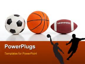 free sports powerpoint templates assorted sports equipment on white including a basketball