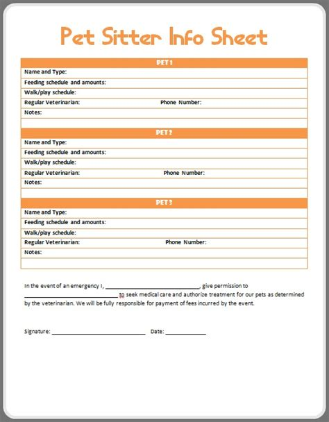 pet sitting contract template luxury printable pet sitter