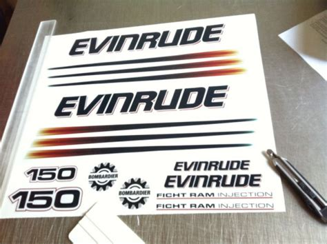 evinrude boat decals boat outboard decals evinrude 150 bombardier ficht ram
