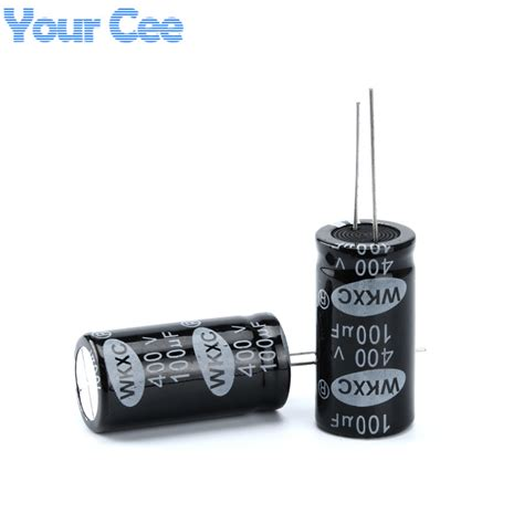 electrolytic capacitor out 10 pcs electrolytic capacitors 400v 100uf 18x35mm aluminum electrolytic capacitor in capacitors
