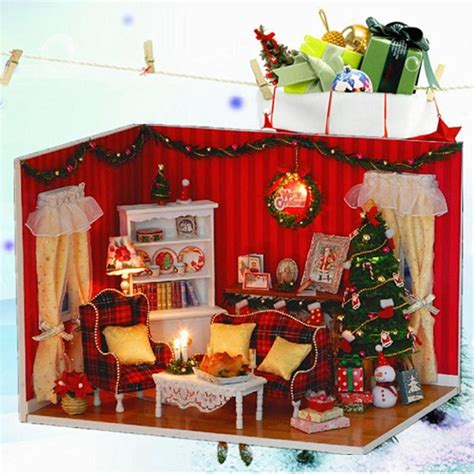 Handmade Dolls House Furniture - miniature doll house diy kit with cover led handmade