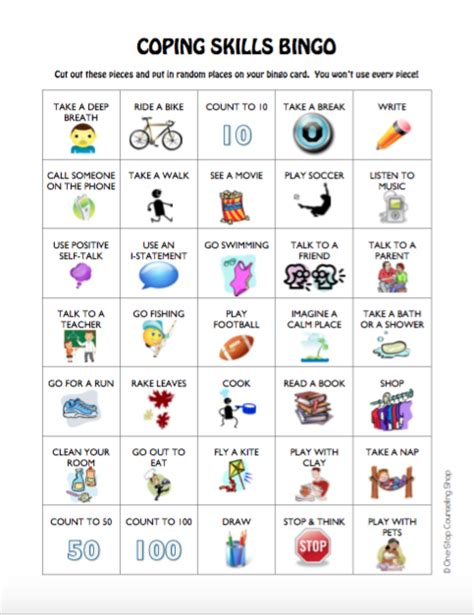 anger management bingo cards printable coping skills bingo game 2 different versions
