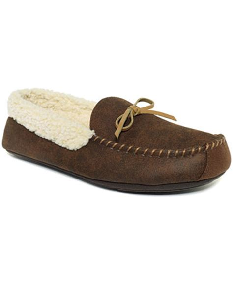 club room slippers club room s slippers aaron sherpa lined moccasins
