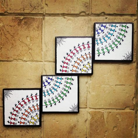 Handcrafted Wall - colourful handmade handpainted warli wall set of 4