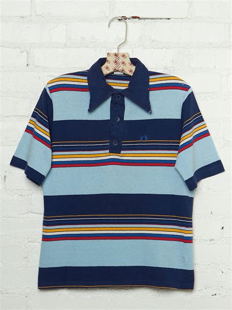 free vintage hang ten striped polo shirt in blue lyst