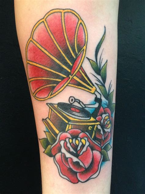 phonograph tattoo phonograph with roses salvation