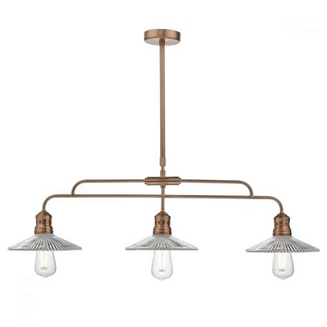 Pendant Bar Lighting Retro Industrial 3 Light Ceiling Pendant Bar In Copper With Glass