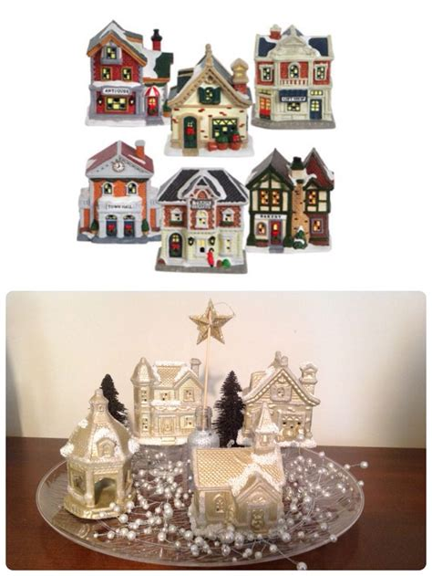 diy christmas village dollar tree ceramic houses spray