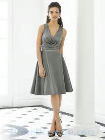 Buy tailor made deep v neck sexy a line ruched knee length grey