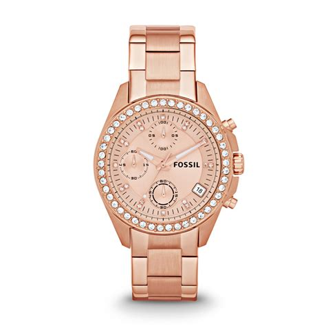 fossil decker chronograph stainless steel  rose