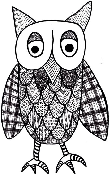 pattern owls art lesson coloring pages the art of zentangle patterned owl by