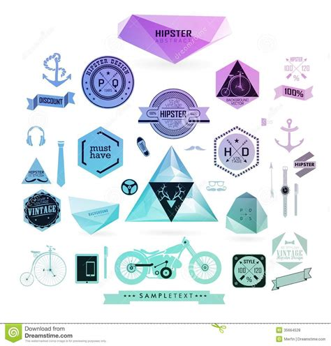 hipster style elements icons and labels stock vector hipster style elements icons and labels stock vector