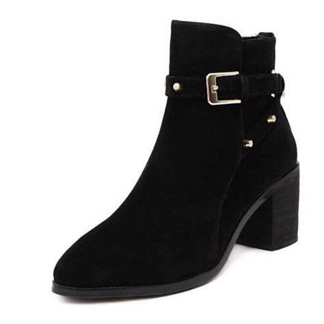 black suede pointed toe chunky heel buckle ankle boots