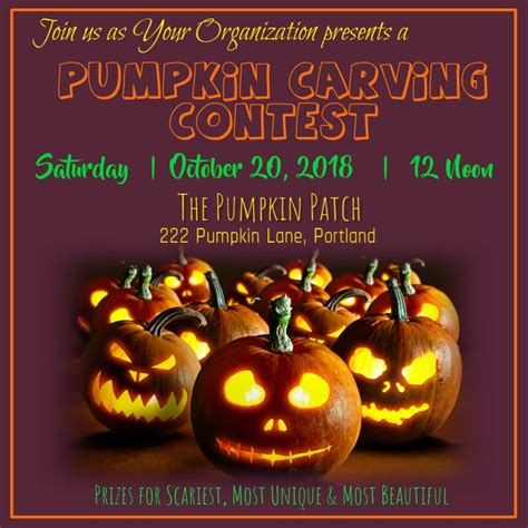 pumpkin carving contest video template postermywall