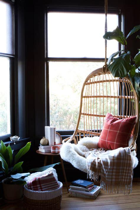 Cozy plaid reading nook
