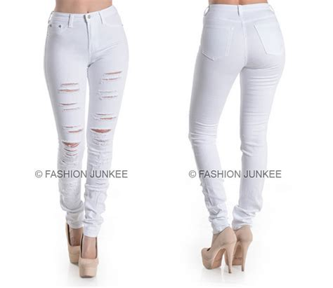 Ripped List White Rawis white 45 ripped denim stretch destroyed distressed plus size 1 18 auctions buy