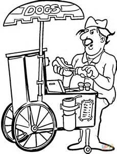 free coloring pages of hot dogs hot dog seller coloring page free printable coloring pages
