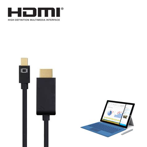 Garskin Gold For 2 3 4 Mini 1 2 3 microsoft surface pro 2 3 4 mini displayport dp to hdmi 4k tv monitor 1 5m gold cord wire