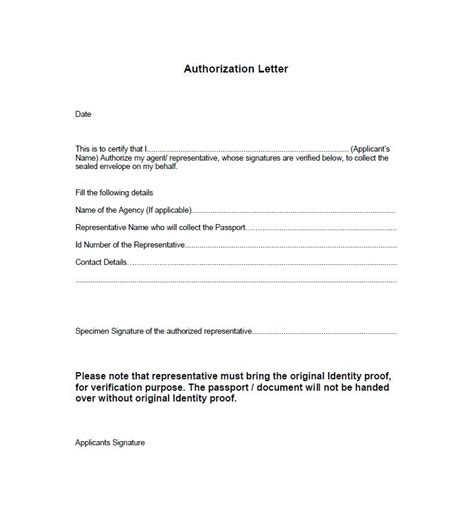 exle of authorization letter for representative authorization letter for personal representative