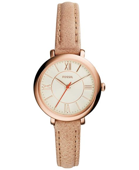 Fossil Fs083 Green Rosegold fossil s jacqueline brown leather 26mm es3802 in pink lyst