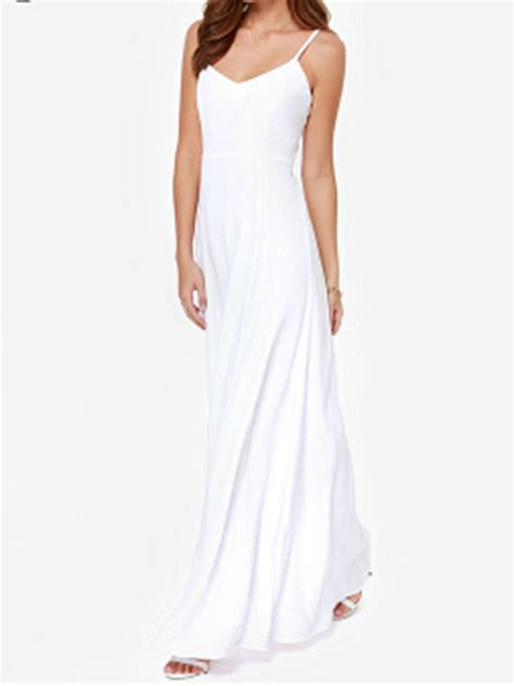 Spaghetti Dress White best 50 discount white v neck spaghetti cut out