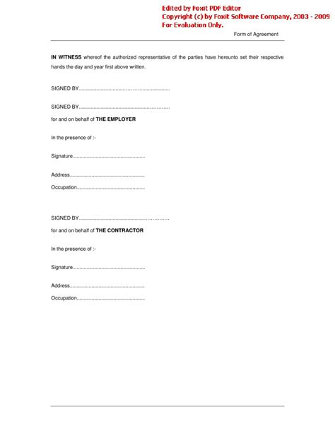agreement template word conditions of contract